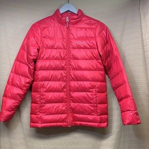 Columbia Airspace Down Jacket Youth Large Bright Pink Zip Puffer Lightweight GUC